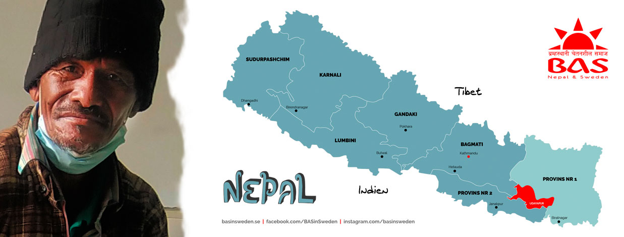 En karta över Nepal och patienten Munilal